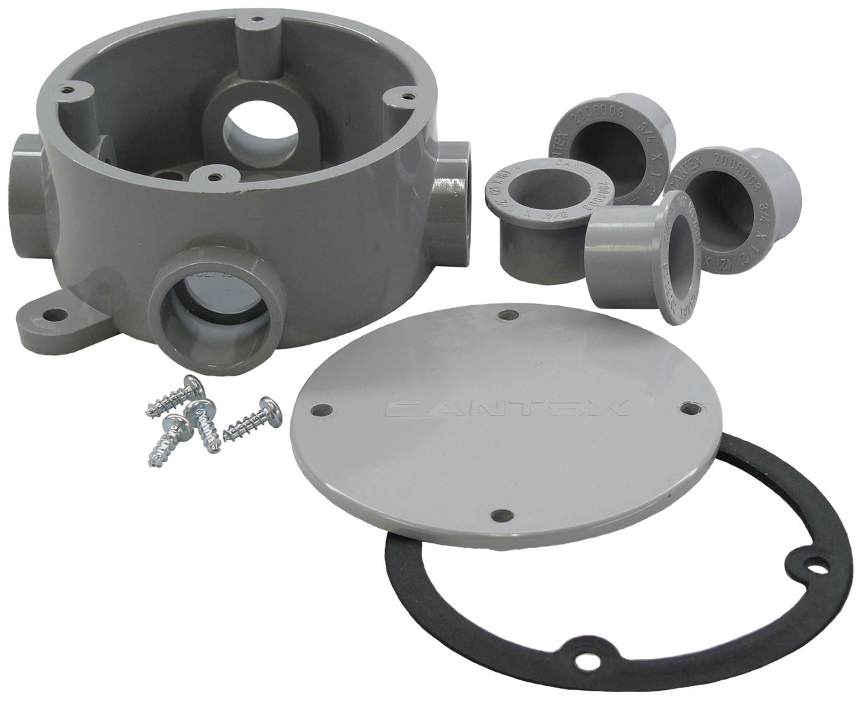 Cantex 5133690 Round Junction Box, 3/4 in. Hub, 4 Hubs, w/Cover, PVC,""